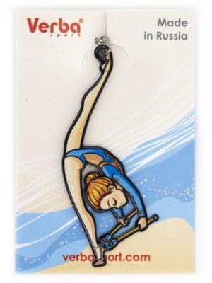 Брелок VERBA SPORT гимнастка с булавами (голубой) 8*3 см.