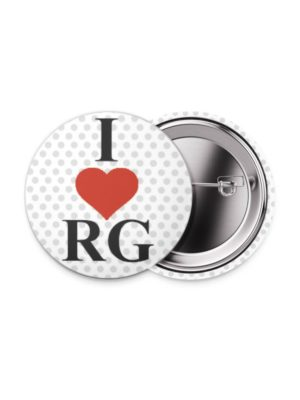 Значок «I Love RG» 38 мм. белый
