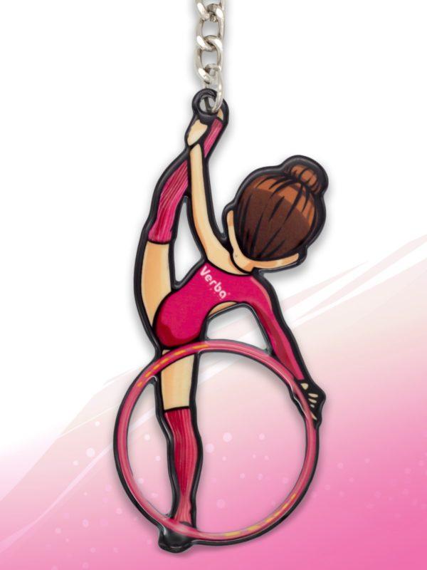 Брелок VERBA SPORT гимнастка с обручем Н (розовый) 8*3,7 см.