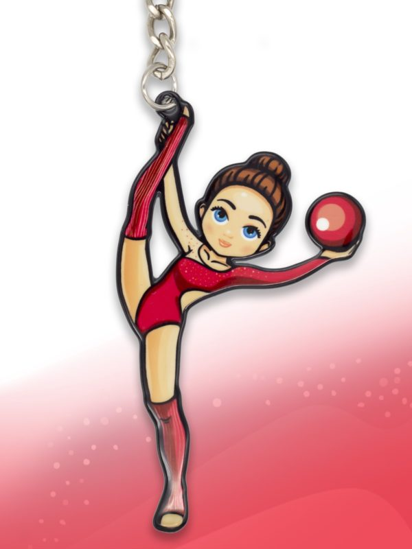 Брелок VERBA SPORT гимнастка с мячом (красный) 8*4,5 см.