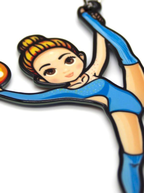 Брелок VERBA SPORT гимнастка с мячом (голубой) 8*4,5 см.